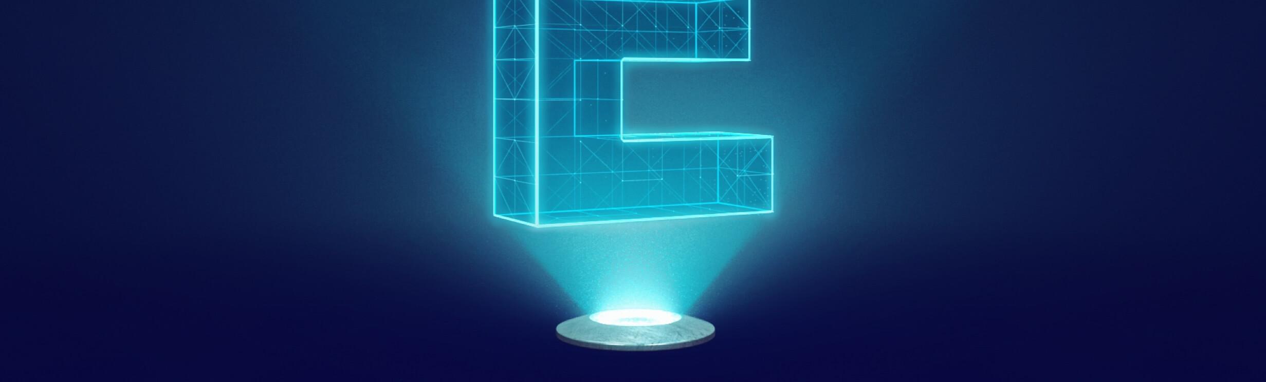 ein grosses E das beleuchtet wird