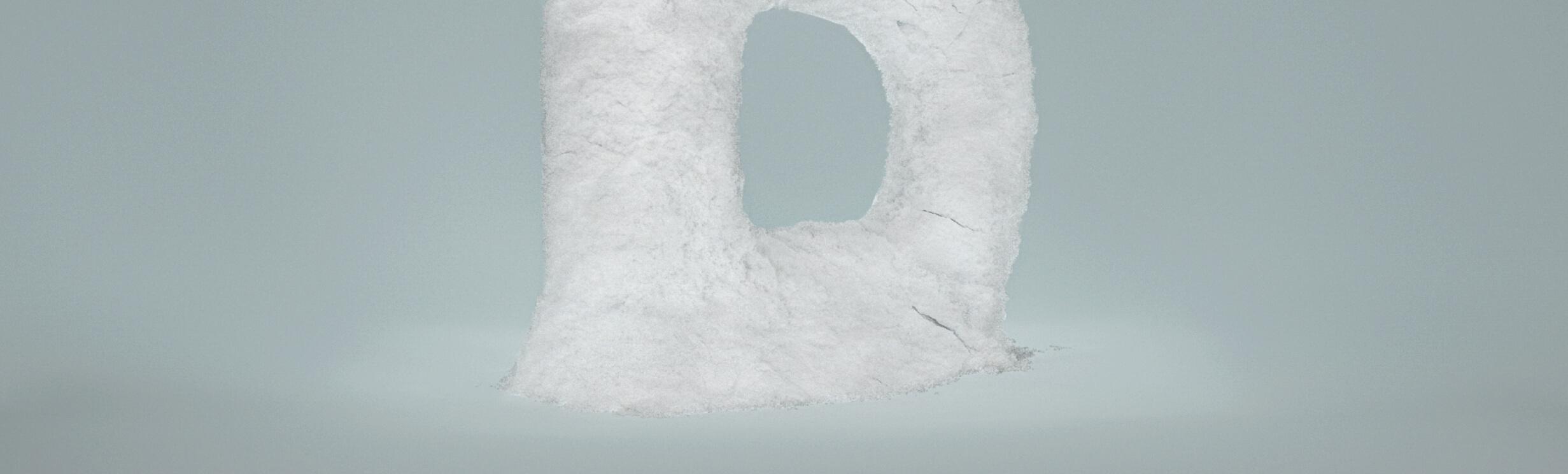 ein grosses D aus weissem Pulver