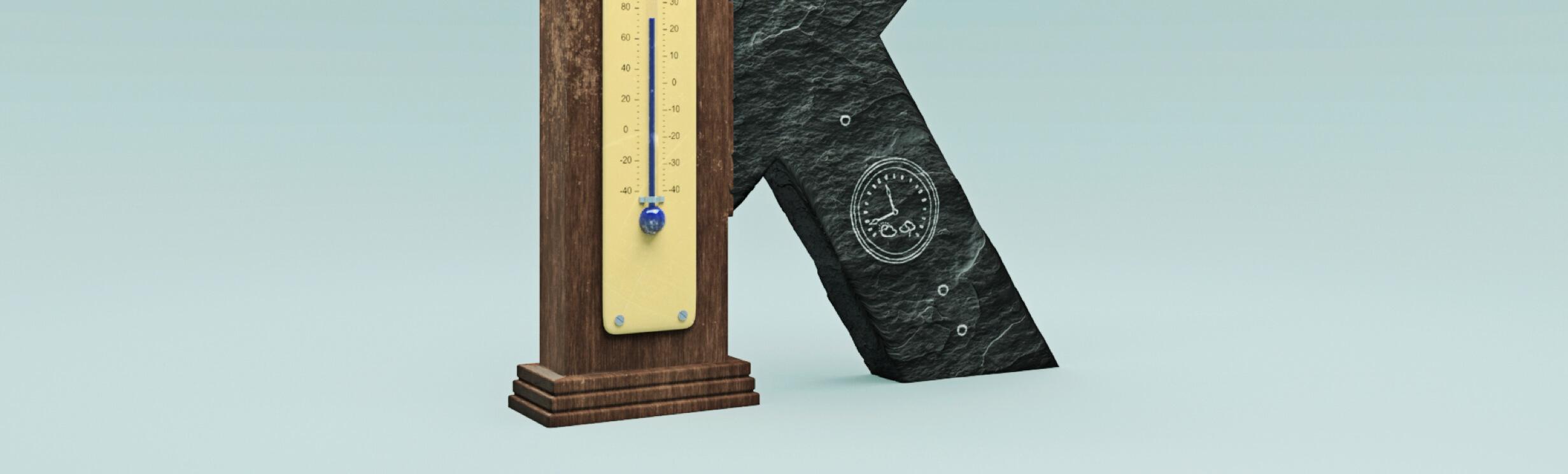 Ein grosses K mit Thermometer